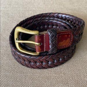 L.L. Bean Braided Brown Brass Buckle Dress Belt